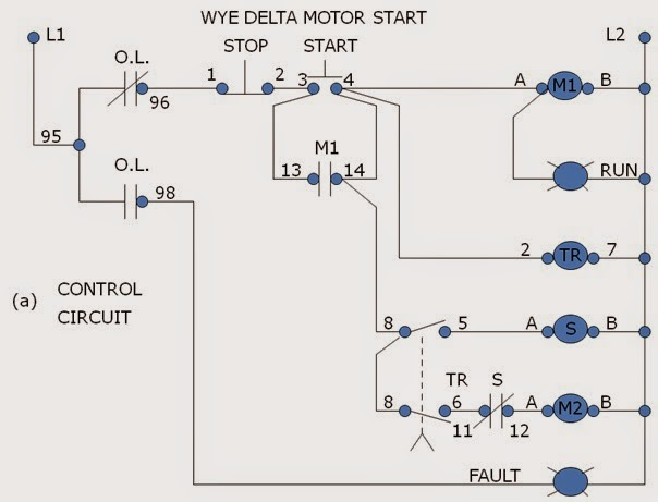 Star Delta Starter Control Wiring Diagram With Timer : Wye delta reduce voltage starter motor control operation
