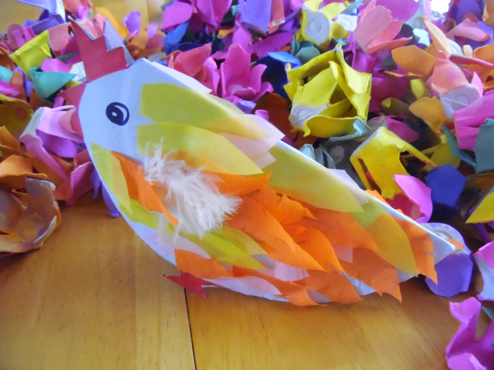 The chicken is a paper plate that has been flded in half and trimmed to make the feet beak and comb. The feathers are a mixture of feathers ... & Makedoandlearn!: Easter chicken - paper plate craft/DIY