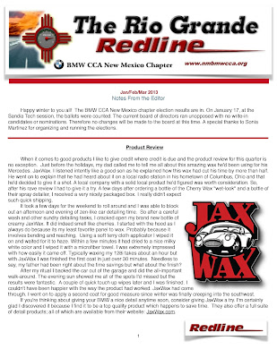 BMW CCA New Mexico Chapter Newsletter 2013 Jax Wax Product Review