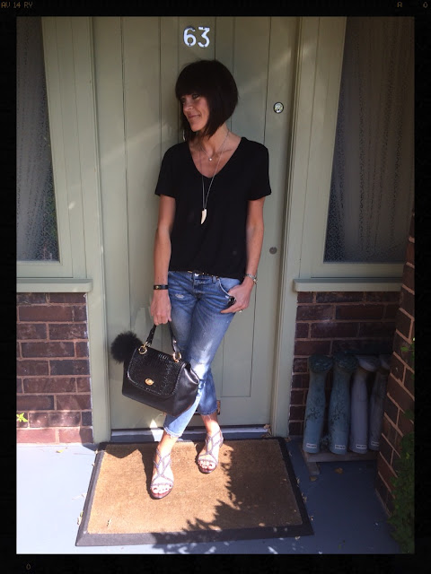 My Midlife Fashion, Zara, Sparkles, Sandals, Distressed Denim, Cigarette Length Jeans, Tusk Pendant Necklace