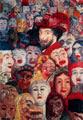 James Ensor (29 años) - Autorretrato con máscaras (1889)
