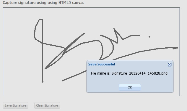 Capture signature using HTML5 canvas, ExtJs 4 and Java Servlet