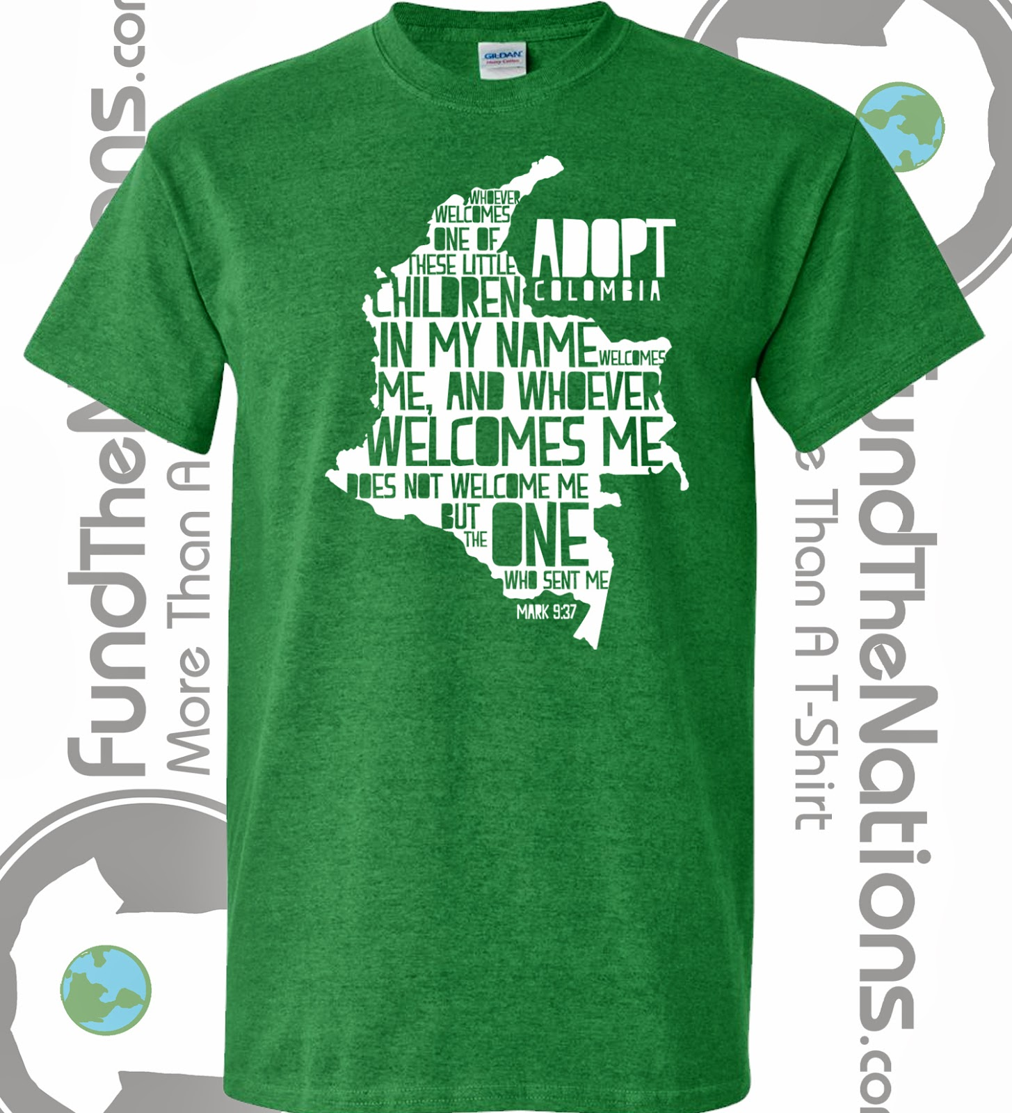 Extra positive promises mark 9 37 adopt colombia t for Adoption fundraiser t shirts