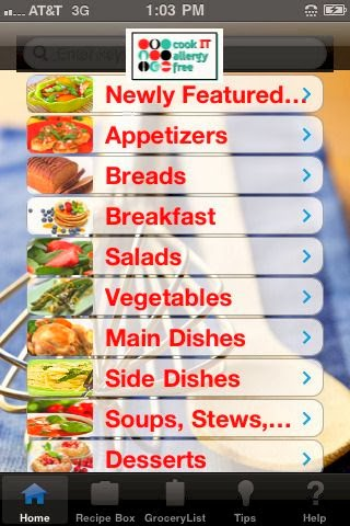 Cook IT Allergy Free app