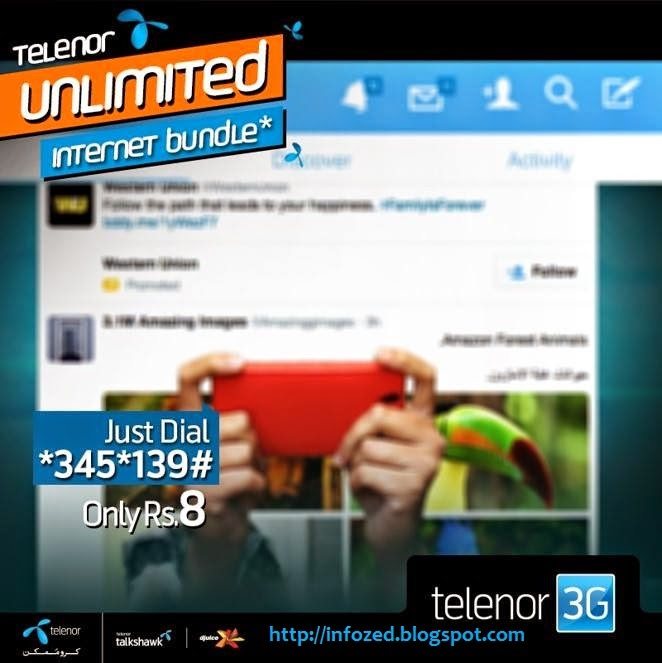 Telenor Latest Unlimited Internet Bundle Offer 2G and 3G