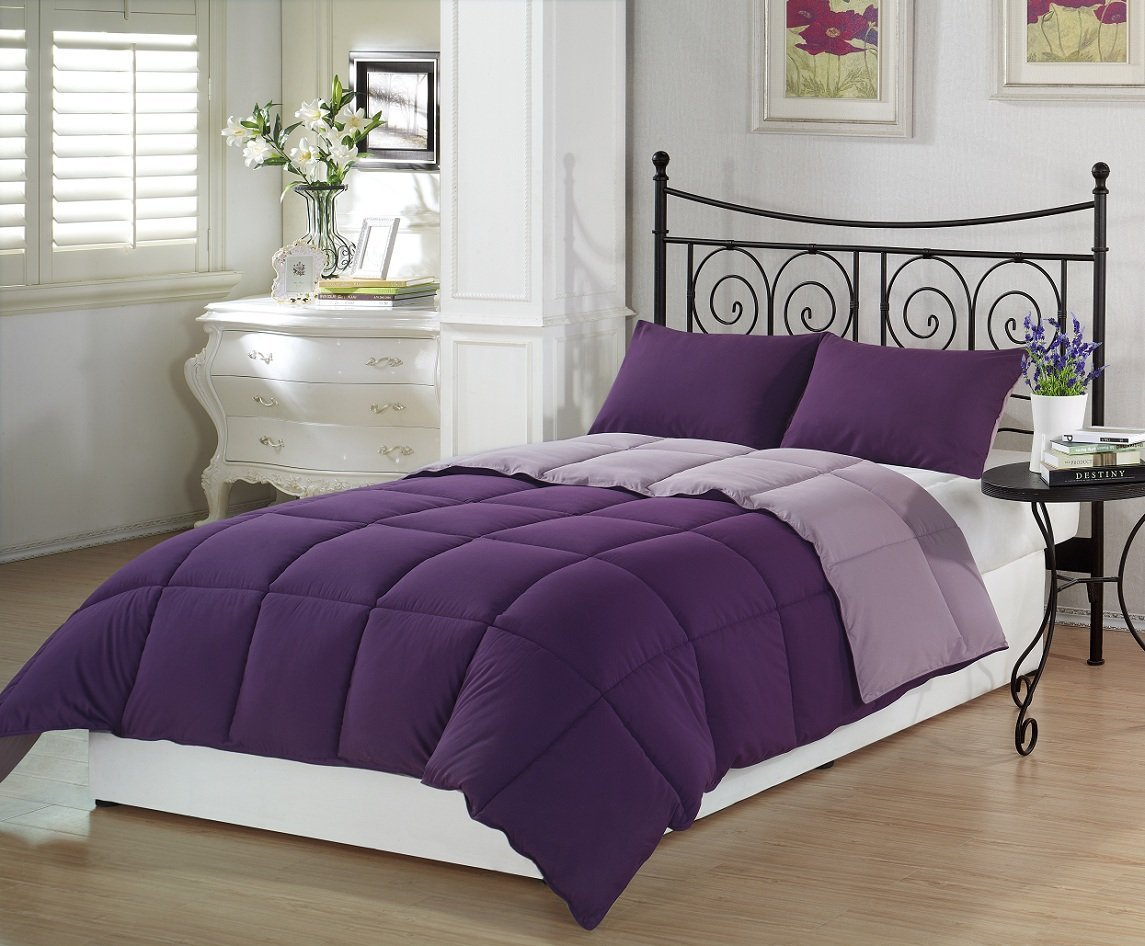 Deep dark purple comforters bedding sets for Bed settings