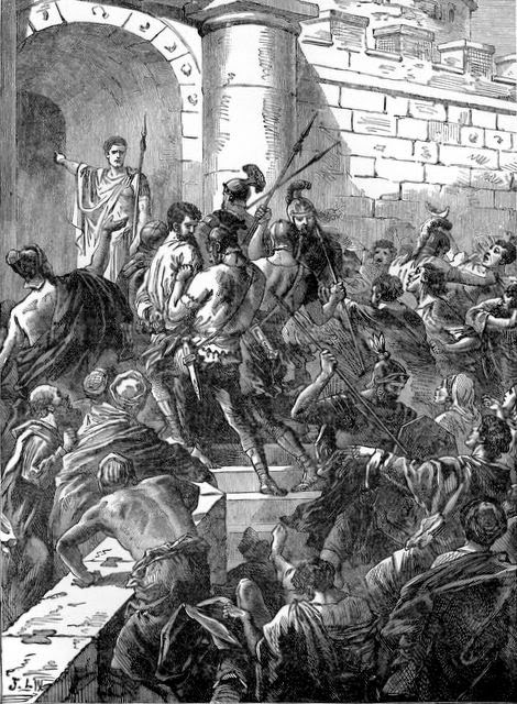 Paul arrested in a riot in Jerusalem (Acts 21:31-36)   - Artist unknown