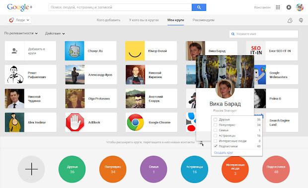 Круги в Google+
