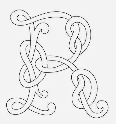 R Celtic calligraphy monogram tattoo stencil