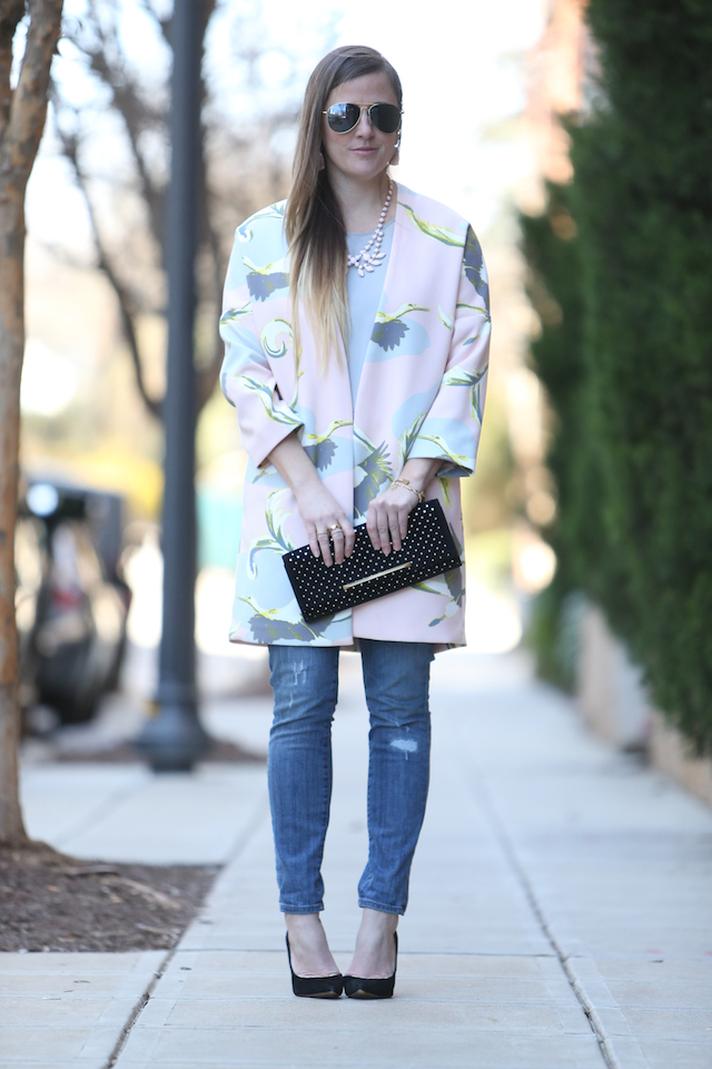 pink pastel heron print swing coat skinny jeans statement necklace brian atwood star clutch