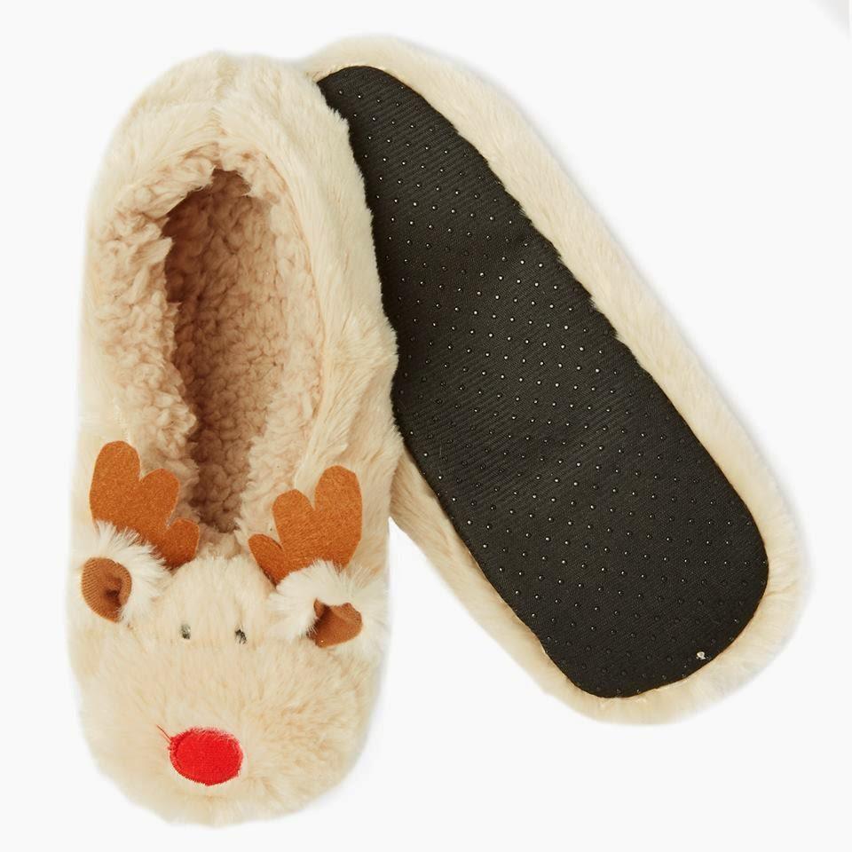 Pantunflas con motivos navideños para ir por casa