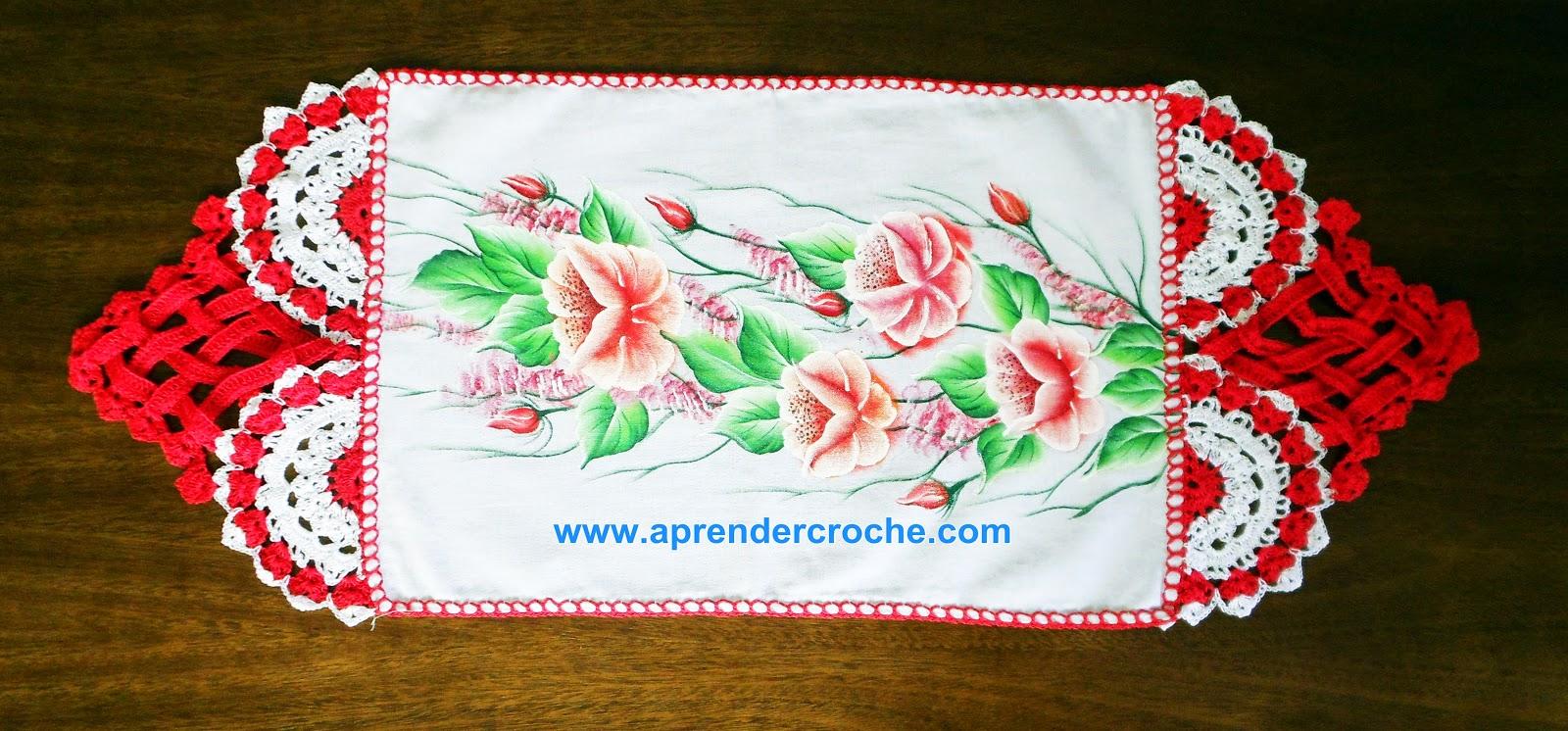 barrados entrelaçados branco vermelho aprender croche dvd edinir-croche panos de copa cozinha mesa loja frete gratis