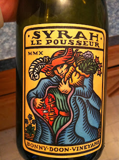 label of 2010 Bonny Doon Le Pousseur Syrah red wine