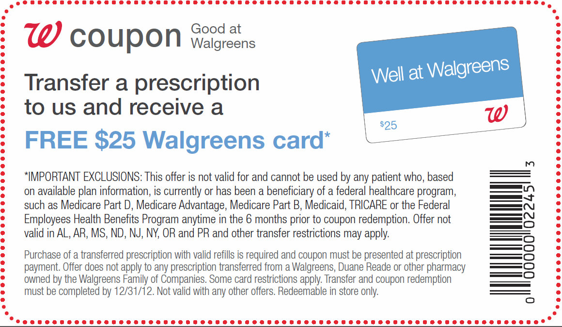 Walgreens coupon prescription transfer