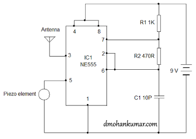 Using 555 as FM transmitter Circuit Diagram