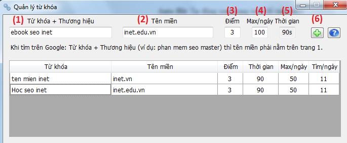 Màn hình quản lý từ khóa Auto Search, SEO Brand Name, phần mềm SEO Master
