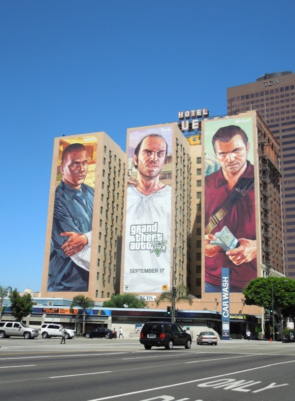 Giant Grand Theft Auto V billboards Downtown LA