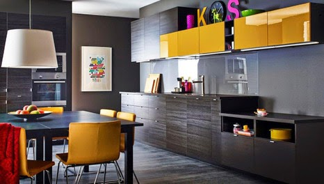 new collection IKEA kitchen units, designs and reviews, black and yellow combination