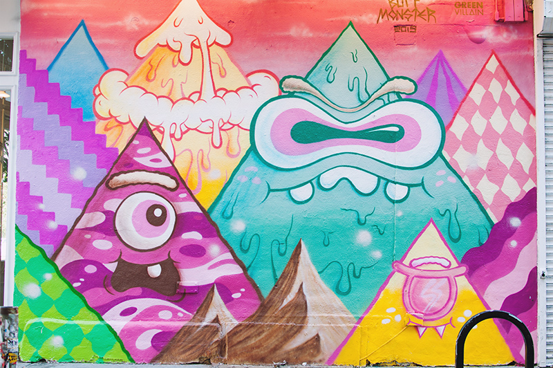 green villain buff monster mural, bowery, new york city, rag and bone