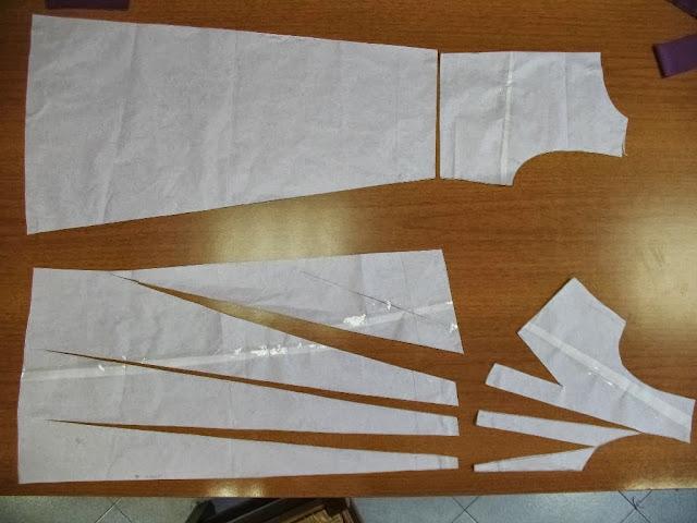 carta modello di abito su misura,cartamodello su misura,abito con pieghe