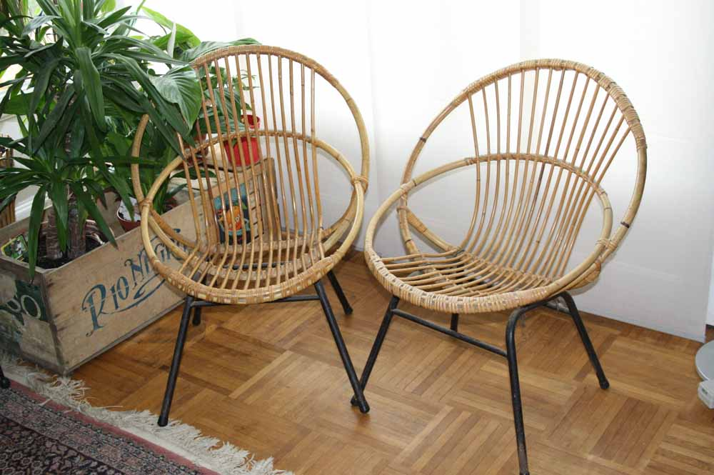 je chine pas en chine 2 fauteuils rotin vintage. Black Bedroom Furniture Sets. Home Design Ideas