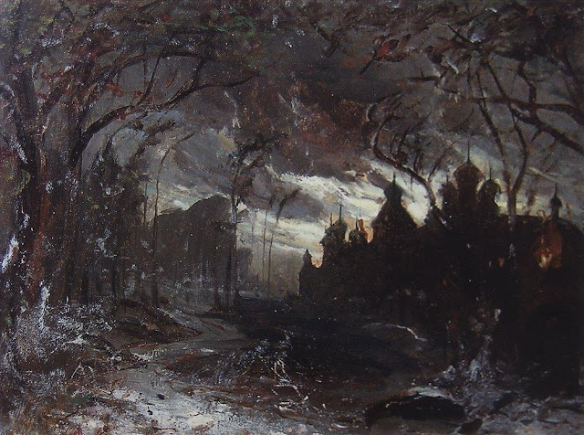 """Ipatiev monastery in the winter light"" Aleksey Savrasov (1870) dark, cold, creepy, woods, forest, Russia, russian painters"