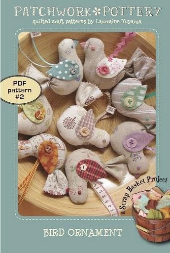 passarinho de tecido com molde - Patchwork Pottery