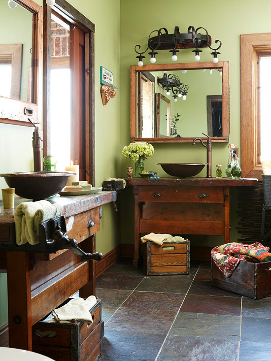 Bathroom with Sage Green Walls