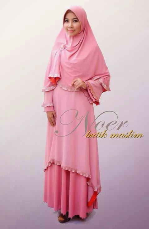 gamis pesta syar'i eksklusif jersey korea tebal high quality