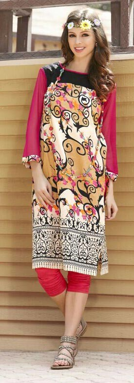 Pink & Cream Cotton Printed Casual Kurti