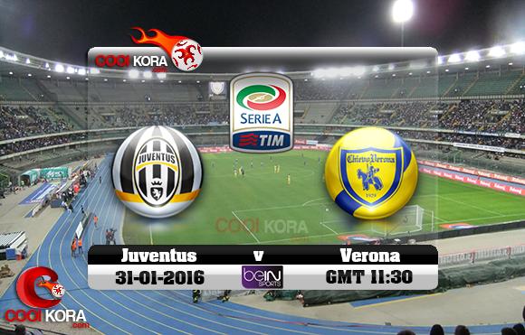 مشاهدة مباراة كييفو فيرونا ويوفنتوس اليوم 31-1-2016 في الدوري الإيطالي