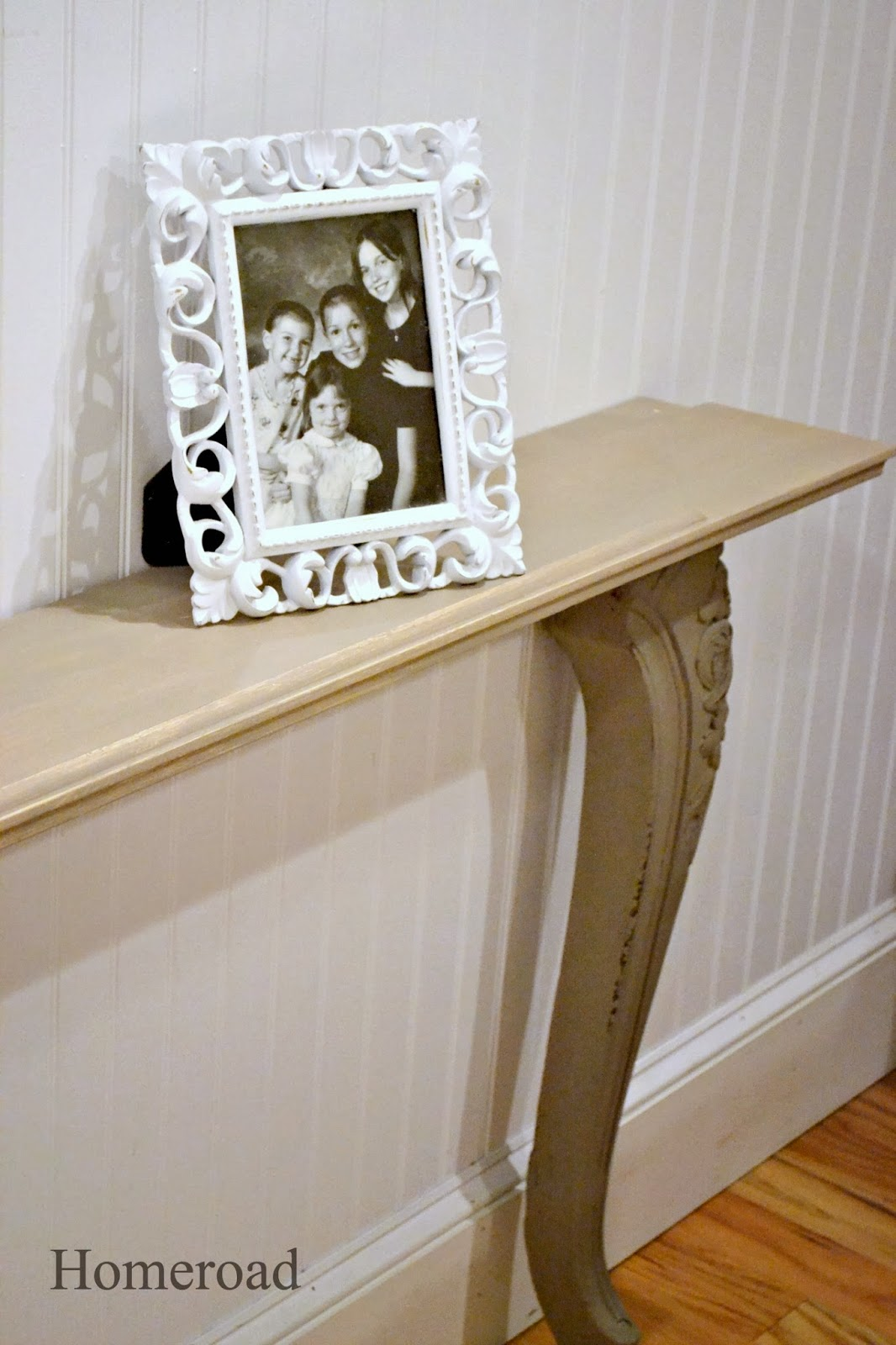 narrow wall table made with found objects - Narrow Sofa Table