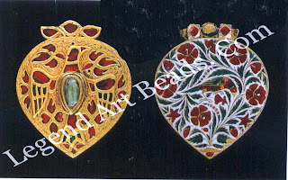 """PENDANT (front and reverse) Mughal; 18"""" century H: 3.7 cm W: 3 CM  Trustees of the British Museum, London (0A+14178) The continuity of 16' century jewel setting is manifest in this piece; the bird is rendered in relief, with rubies and green glass sot mosaic-like into chased depressions, the gold in between engraved with flowers and foliage. The reverse is enamelled in red and green on a white ground."""