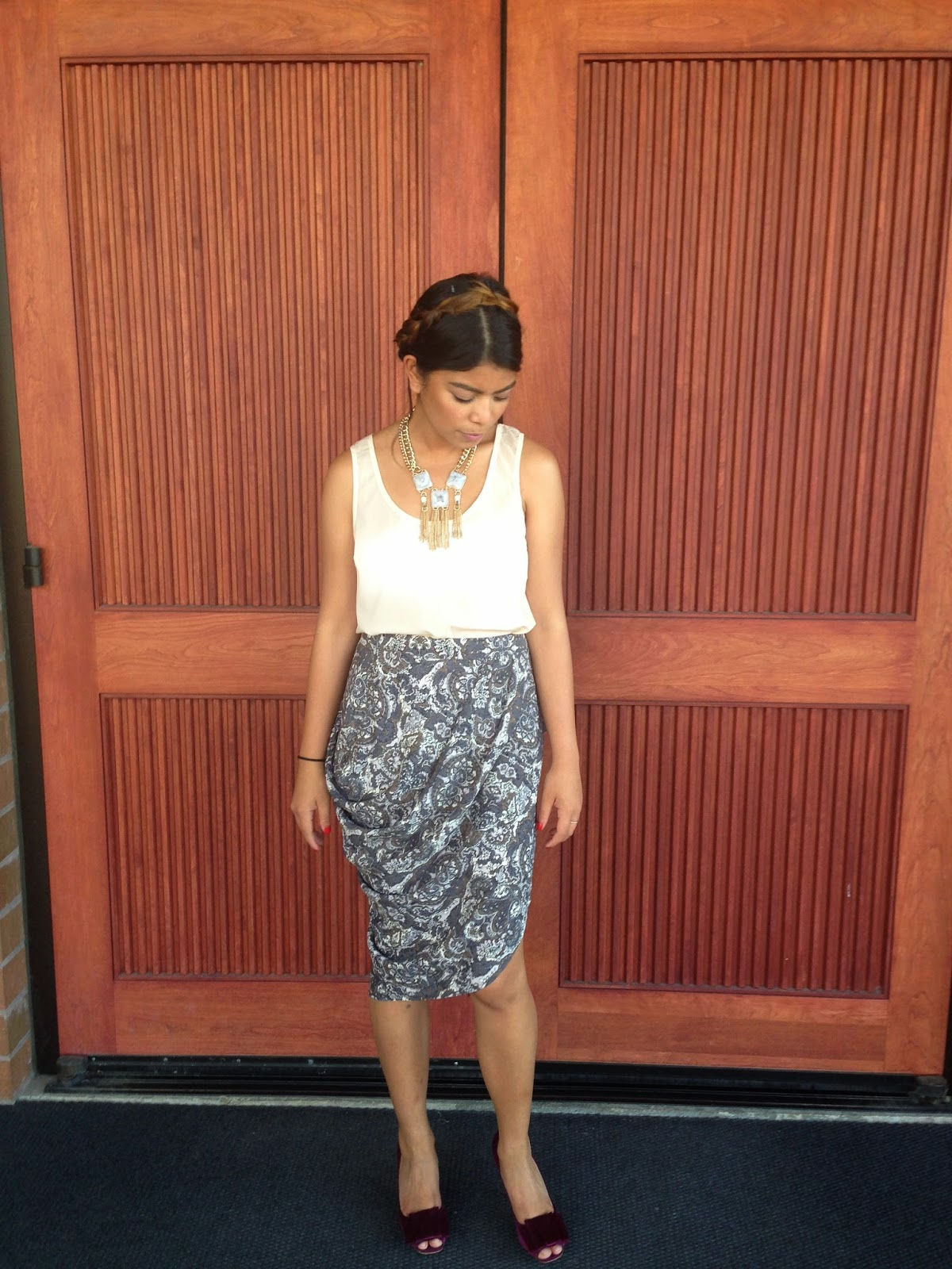 fashion blogger, street style, the P Town Girls, portland blogger, affordable fashion, paisley skirt, milk braid hair, natural, summer 2014