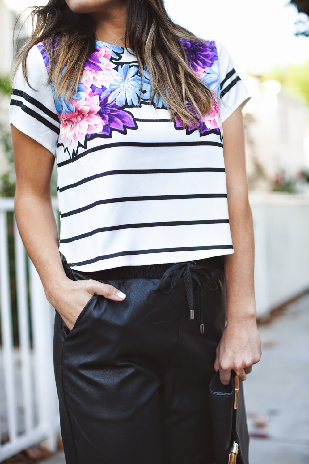 striped and floral top
