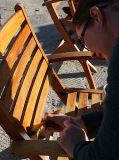 A staining the balcony furniture