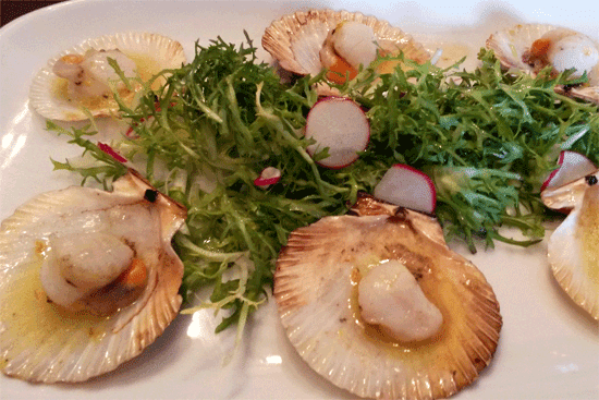 Queen scallops in lemon butter.