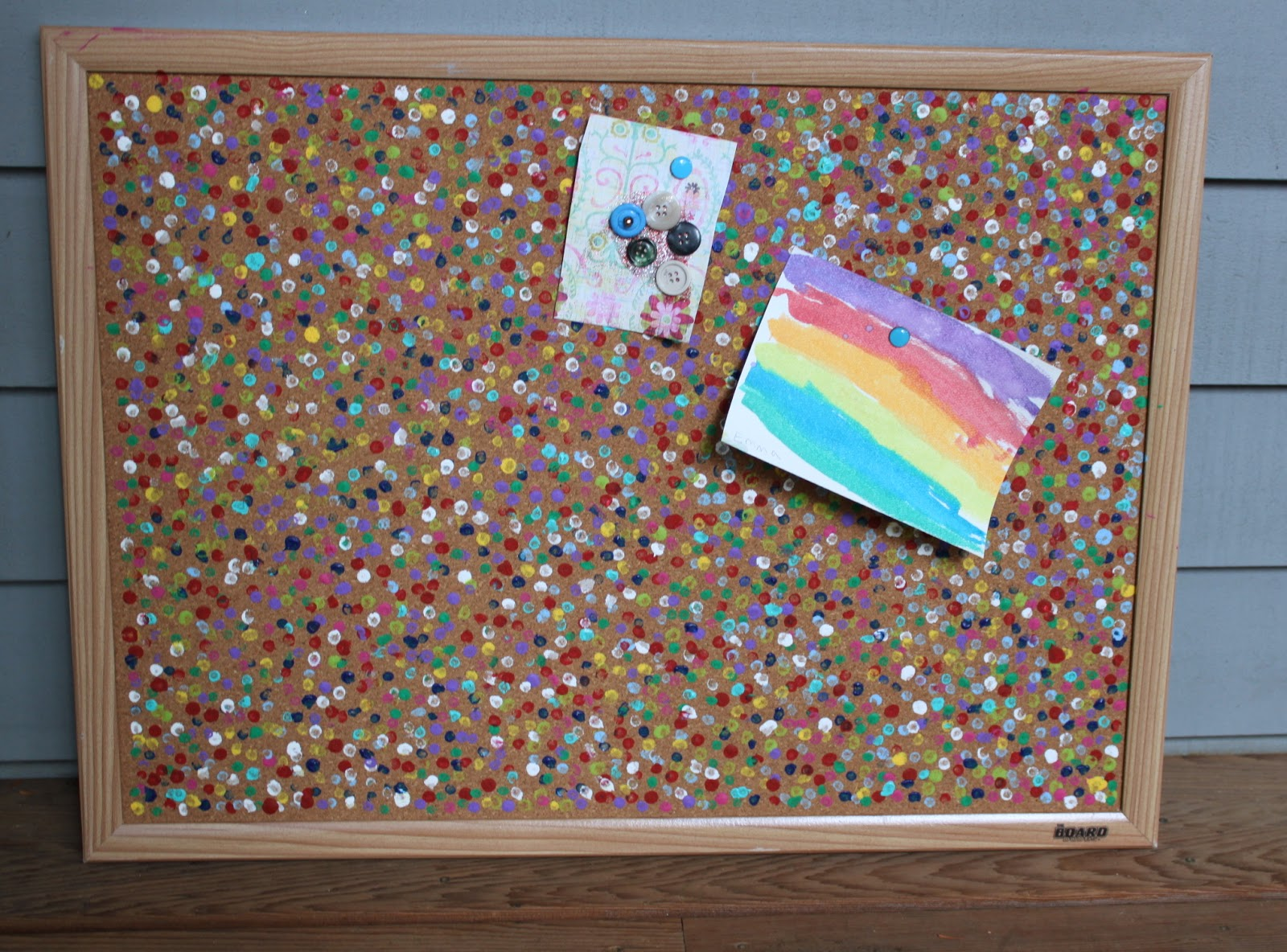 Our end result was colorful, bright and perfect to hang on our art room  wall. It really did look like confetti, just what we had hoped for.