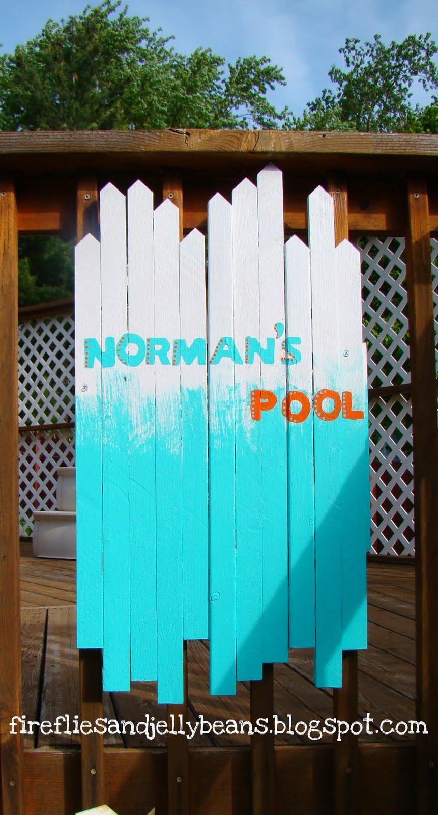Fireflies And Jellybeans Beachy Gate Pool Sign Tutorial