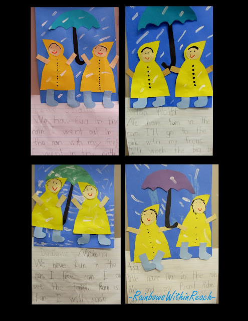 photo of: Kindergarten spring bulletin board, children with raincoats, umbrellas in preschool,