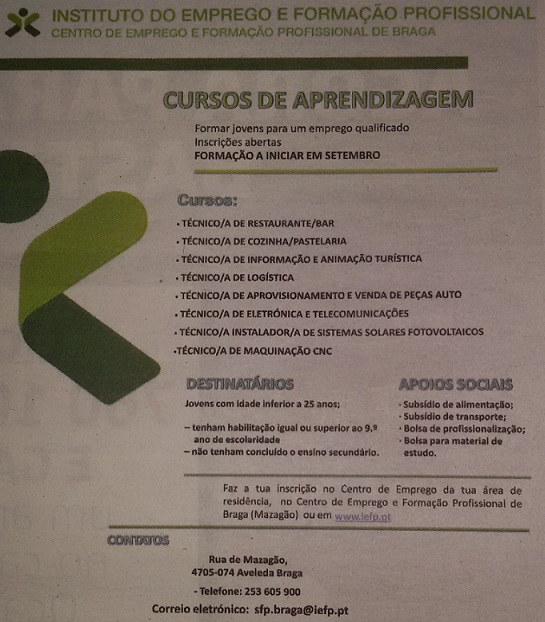 Cursos de aprendizagem subsidiados – Braga (a iniciar em Setembro / 2015)
