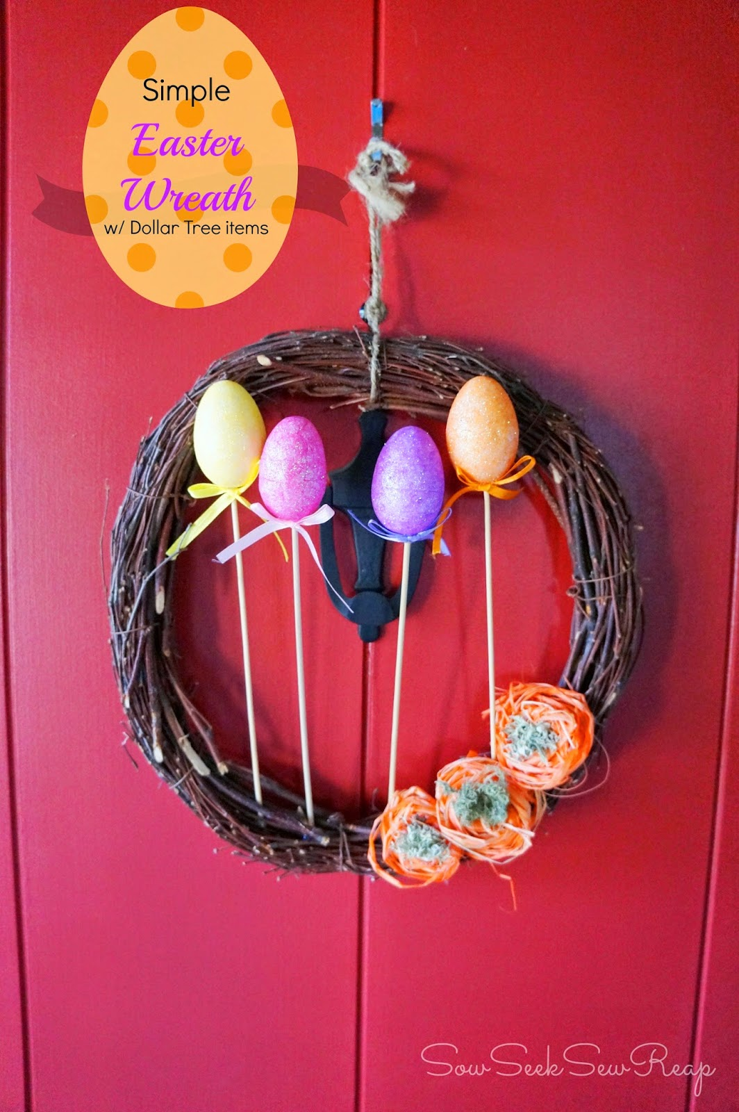 easy Easter wreath, Easter Dollar Tree wreath, Easy wreath, spring wreath, cheap crafts