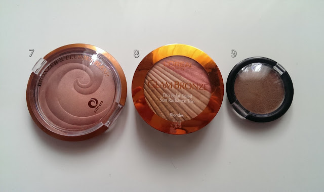 Three different bronzers