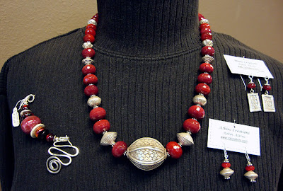 bead jewelry by Robin Atkins, man-made ruby set