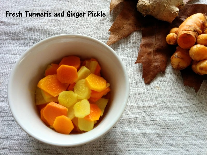 Fresh turmeric & ginger pickle