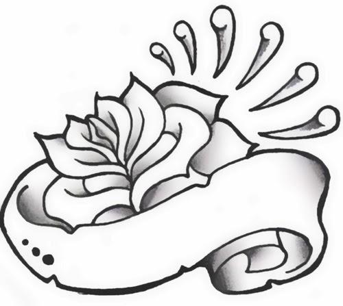 Scroll and rose tattoo stencil