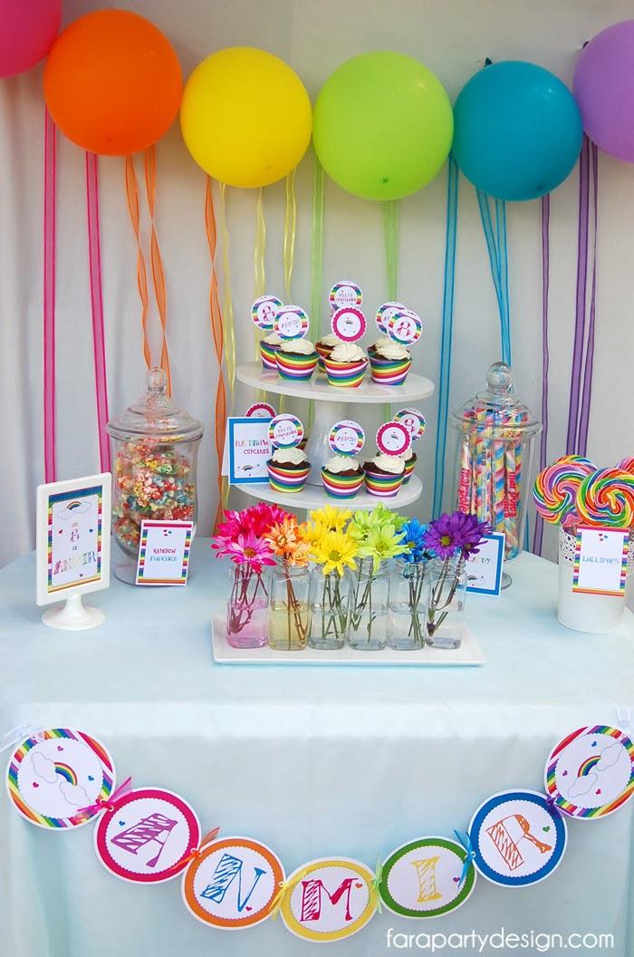 Decoracion arcoiris baby shower for Fiesta baby shower decoracion