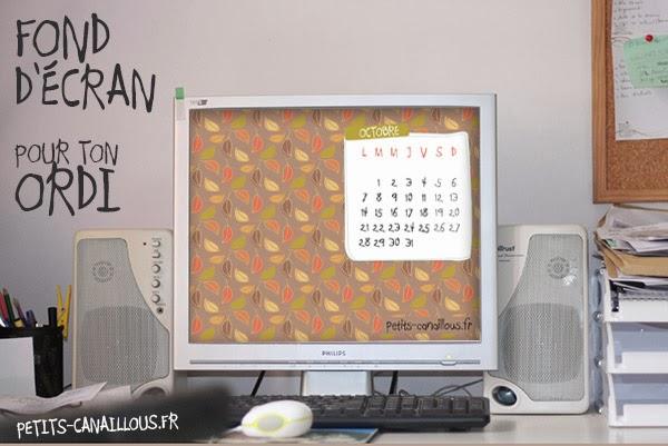 fond ecran avec calendrier du mois d'octobre