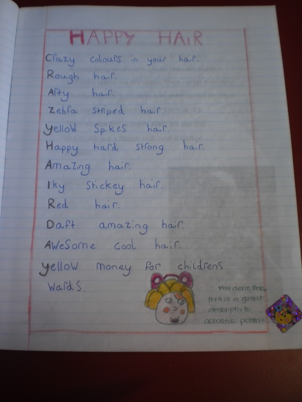 acrostic hair poems crazy using styles wrote amazing