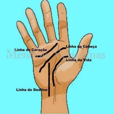 Quirologia: A palma das mãos com suas linhas da vida, da cabeça, do coração e do destino.